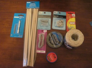Twine, wires, and tape were from the hardware store. All else was from the craft store.